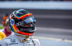 Fernando Alonso walks back to the pits following an engine failure late in the Indianapolis 500. [Andy Clary Photo]
