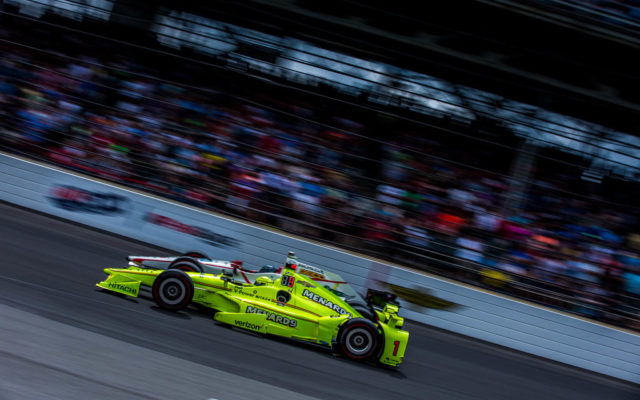 Simon Pagenaud races Ed Jones at Indianapolis.  [Andy Clary Photo]