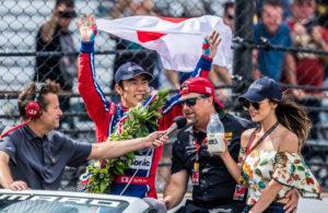 Takuma Sato and Michael Andretti celebration lap after winning the Indy 500. [Andy Clary Photo]