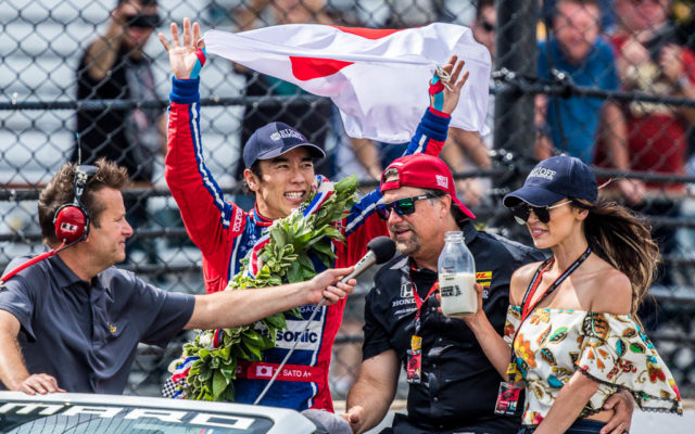 Takuma Sato and Michael Andretti celebration lap after winning the Indy 500.  [Andy Clary Photo]