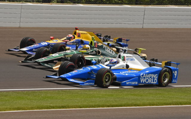 Front row starters Scott Dixon, Ed Carpenter and Alexander Rossi are perfectly aligned during psce lap.  [Joe Jennings Photo]