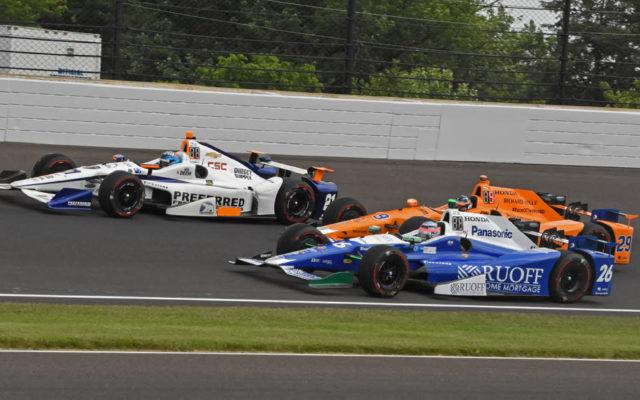 Second row starters Takuma Sato, Fernando Alonso and J.R. Hildebrand ready to go racing.  [Joe Jennings Photo]