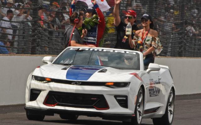 Victorious victory lap with Takuma Sato and Michael and Jodi Ann Andretti.  [Joe Jennings Photo]
