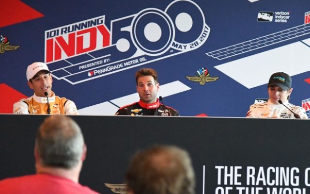 Helio Castroneves, Will Power & Gabby Chaves meet the press after Tuesday's practice.  [Russ Lake Photo]