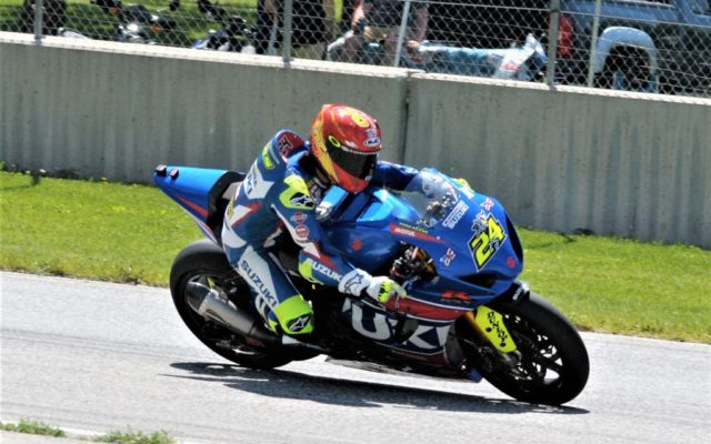 #24 Toni Ellias (SUZUKI GSX-R1000) in turn 3 at Road America on Friday.  [Dave Jensen Photo]