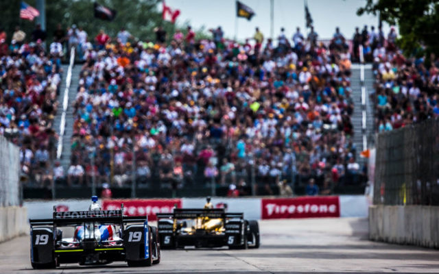 Ed Jones races before a great crowd at the Detroit Grand Prix.  [Andy Clary Photo]