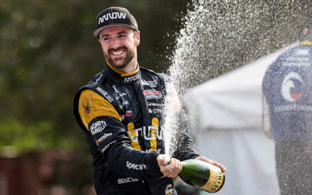 James Hinchcliffe celebrates his podium finish at Detroit.  [Andy Clary Photo]