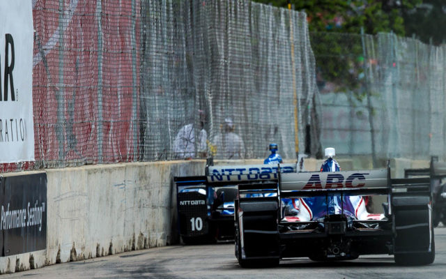 Tony Kanaan up close with the wall in Detroit.  [Andy Clary Photo]