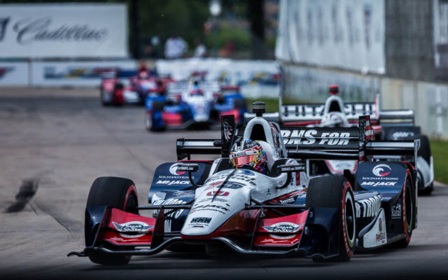Graham Rahal runs out front in the Detroit Grand Prix.  [Andy Clary Photo]