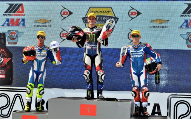 MOTUL SUPERBIKE CLASS RACE 1: #24 Toni Ellas (SUZUKI) 2nd place, #1 Cameron Beaubler (YAMAHA) 1st place and #95 Roger Hayden (SUZUKI) 3rd place.  [Dave Jensen Photo]