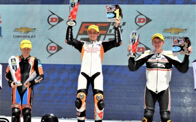 KTM RC CUP RACE 2: #164 Cory Ventura (KTM) 2nd place, #618 Jackson Blackmon (KTM) 1st place and #118 Benjamin Smith (KTM) 3rd place.  [Dave Jensen Photo]