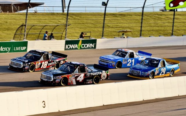 Early in the race Christopher Bell #4, Noah Gragson #18, Chase Briscoe #29 and Johnny Sauter #21.   [Kim Kemperman Photo]
