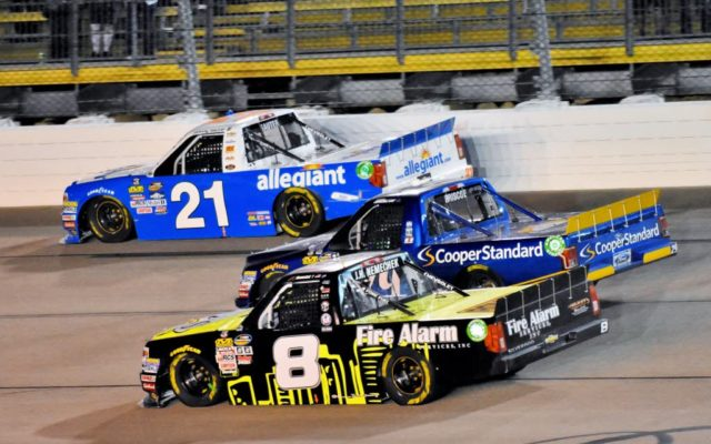 Late race move by John Hunter Nemechek #8 passing Chase Briscoe #29 and Johnny Sauter #21 for the lead.  [Kim Kemperman Photo]