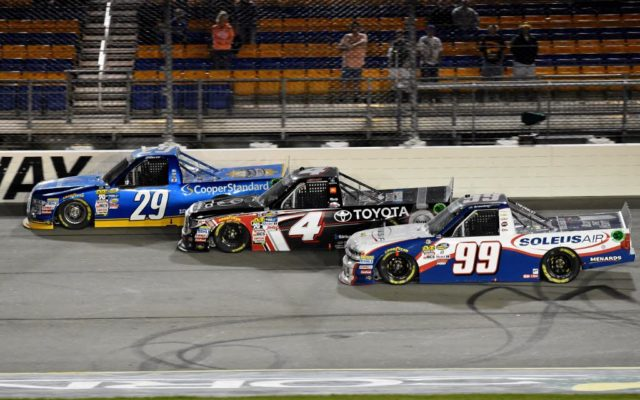 3 wide for Brandon Jones #29, Christopher Bell #4 and Chase Briscoe #29.  [Kim Kemperman Photo]
