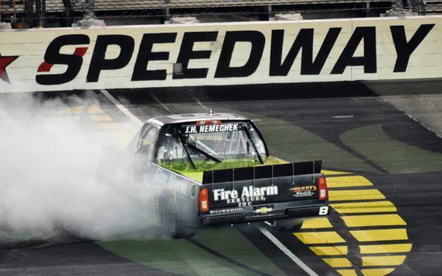 Winner John Hunter Nemechek burning up some tires after taking the checkered flag.  [Kim Kemperman Photo]