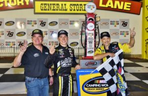 Winner John Hunter Nemechek celebrates 2 in a row with his Father Joe Nemechek and crew chief Gere Kennon. [Kim Kemperman Photo]