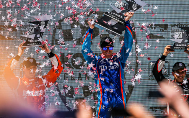 Scott Dixon tops the podium with a victory in the Kohler Grand Prix at Road America.  [Andy Clary Photo]