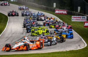 A tight field heads into turn three at the start of the Kohler Grand Prix at Road America. [Andy Clary Photo]