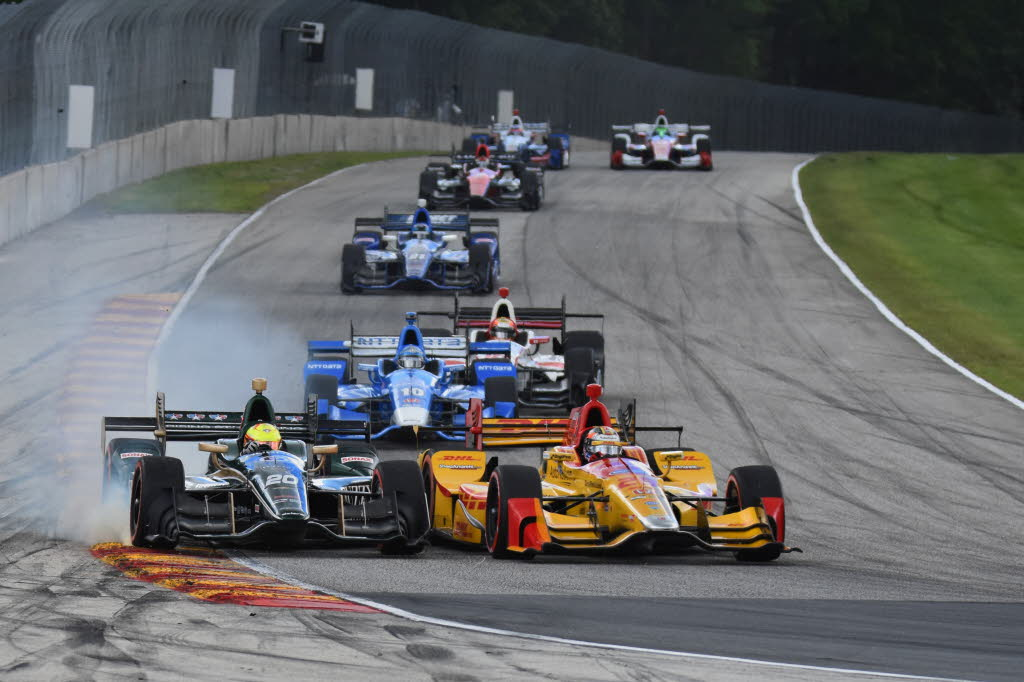 Spencer Pigot gets on the brakes racing Ryan Hunter-Reay into turn 5 at Road America. [John Wiedemann Photo]