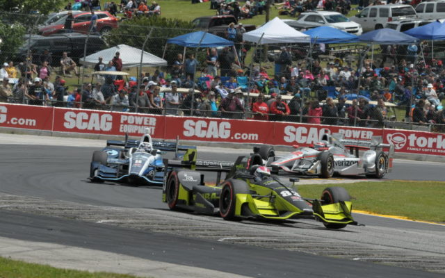 Charlie Kimball leads Max Chilton and Will Power through turn 5 at Road America.  [Dave Jensen Photo]