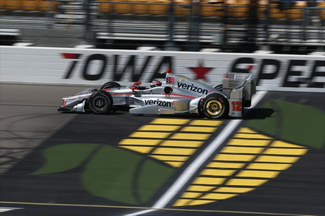 Will Power crosses the start/finish line during practice for the Iowa Corn 300 at Iowa Speedway. [Chris Jones Photo]