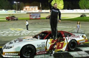 Slinger Nationals Winner Bubba Pollard celebrates in victory lane. [Russ Lake Photo]