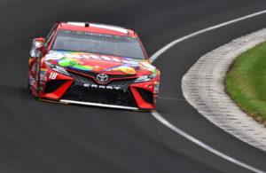 Kyle Busch runs through turn one a the Indianapolis Motor Speedway. [John Wiedemann Photo]