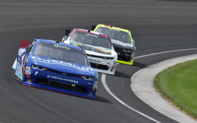 Elliott Sadler leading the Lilly Diabetes 250 early in the race.  [John Wiedemann Photo]