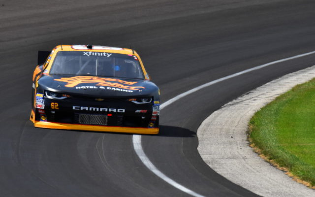 Brendan Gaughan in turn one at Indianapolis.  [John Wiedemann Photo]