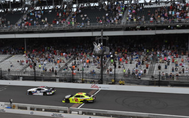 William Byron beats Paul Menard to the yard of bricks winning the Lilly Diabetes 250 at Indianapolis.  [John Wiedemann Photo]