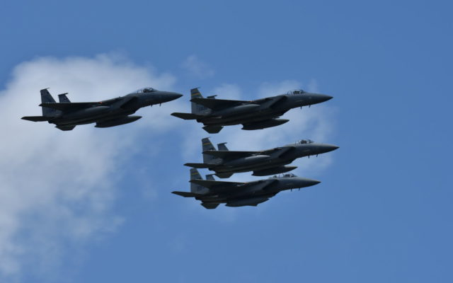 Brickyard 400 flyover – U.S. Navy F-15C Eagle jets from Naval Air Station Joint Reserve Base, New Orleans.  [John Wiedemann Photo]