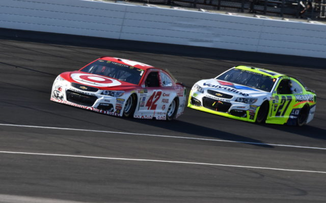 Kyle Larson and Paul Menard.  [John Wiedemann Photo]