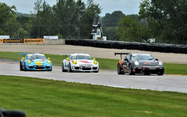 #33 C.J. Wilson leads #99 Alan Menti and #36 Michael Levitas out of turn 14 during the GT# Cup Challenge practice.  [Dave Jensen Photo]