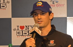 Indianapolis 500 champion Alexander Rossi shown addressing media at Watkins Glen International. [Joe Jennings Photo]