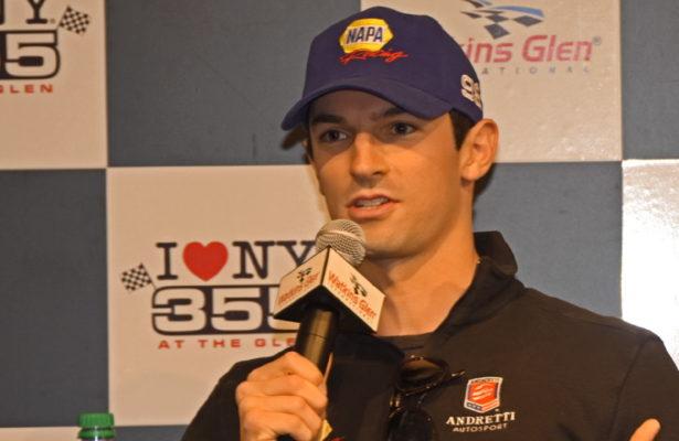 Indianapolis 500 champion Alexander Rossi shown addressing media at Watkins Glen International. [Joe Jennings Photo]