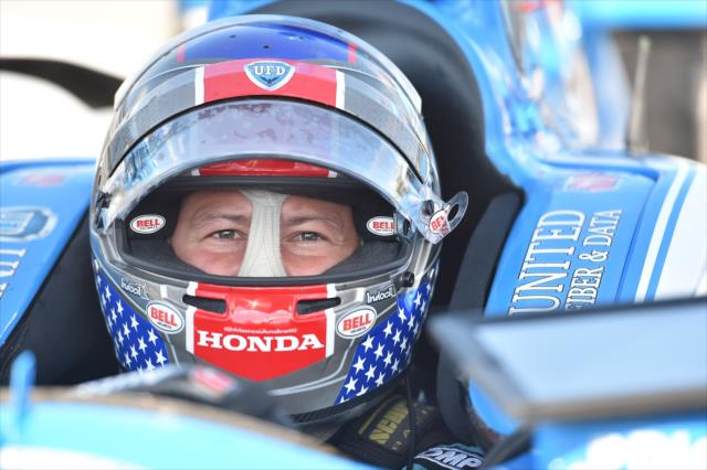 Marco Andretti looks down pit lane from his No. 27 UFD Honda prior to practice for the ABC Supply 500 at Pocono Raceway. [Photo by: Chris Owens]
