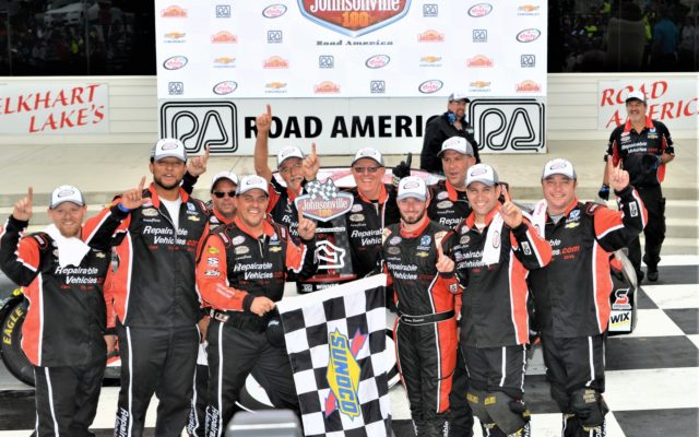 #51 Jeremy Clements in victory lane with crew after winning 8th annual Johnsonville 180 at Road America.  [Dave Jensen Photo]