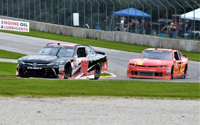 #18 Christopher Bell and #7 Justin Allgaier in turn 3 in NASCAR Xfinity race.  [Dave Jensen Photo]
