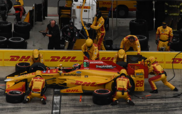 Ryan Hunter-Reay comes in for service.  [Joe Jennings Photo]