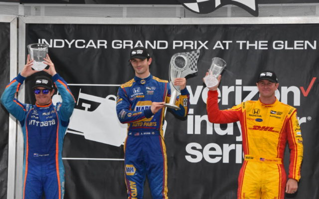 Podiium finishers Scott Dixon, winner Alexander Rossi and Ryan Hunter-Reay.  [Joe Jennings Photo]