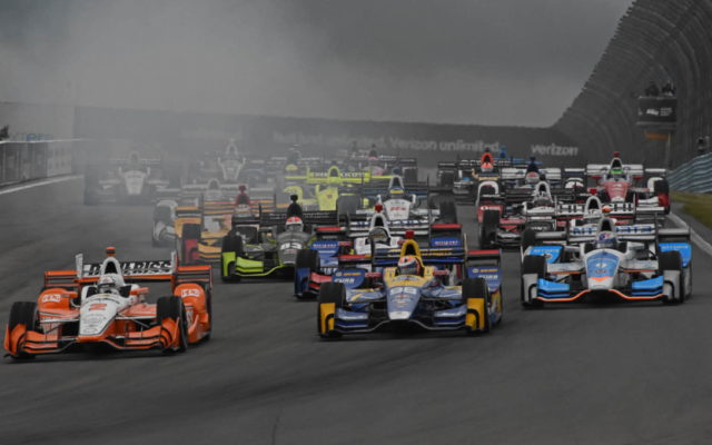 The 21-car field roar into turn 1 at start with Josef Newgarden, Alexander Rossi and Scott Dixon leading the way.  [Joe Jennings Photo]