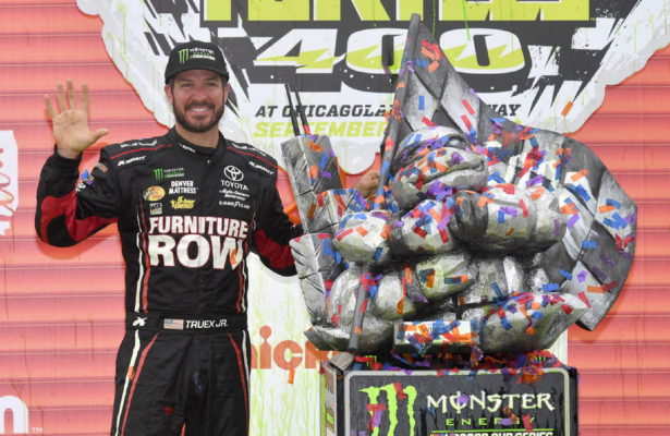 Martin Truex Jr. celebrates at Chicagoland with his fifth Monster Energy NASCAR Cup Series win in the 2017 season. [Photo by Doug Hornickel fastlapphoto.com]