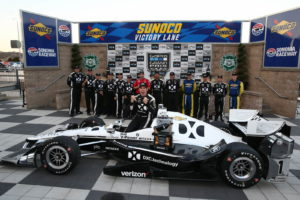 Simon Pagenaud celebrates in Victory Circle after winning the GoPro Grand Prix of Sonoma at Sonoma Raceway.  [Photo by: Chris Jones]