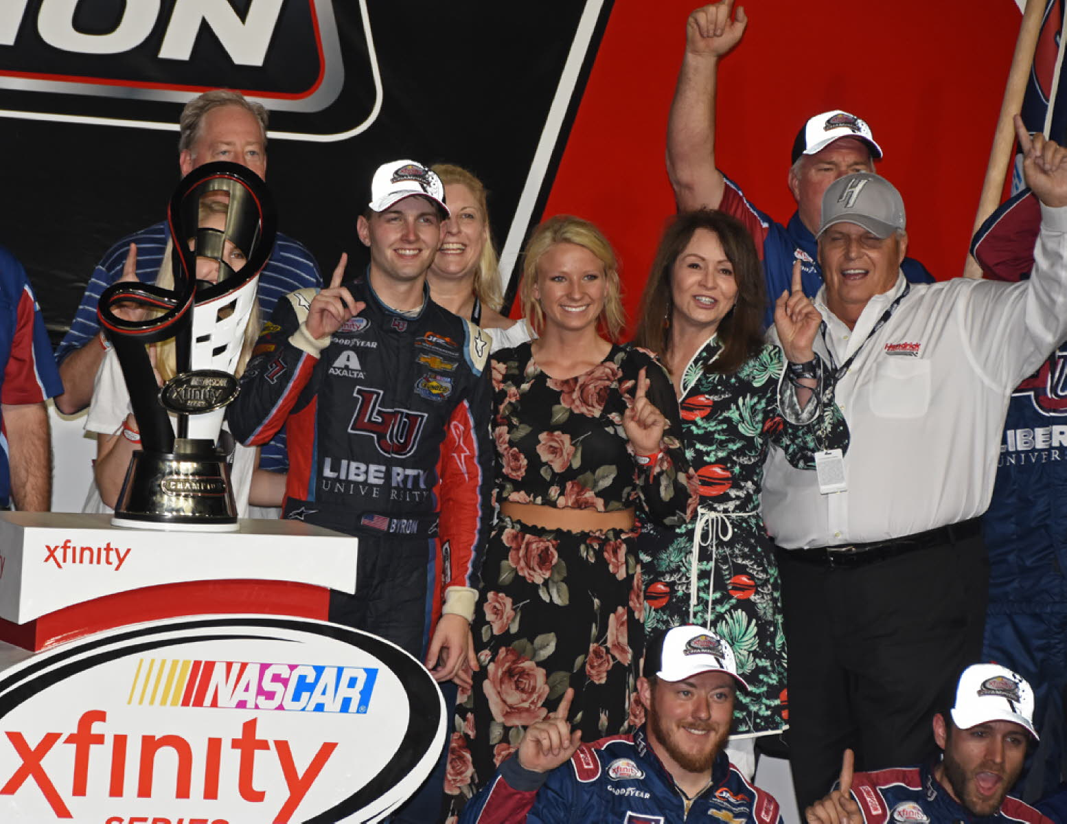 Xfinity champion William Byron and team co-owner Rick Hendrick. [Joe Jennings Photo]
