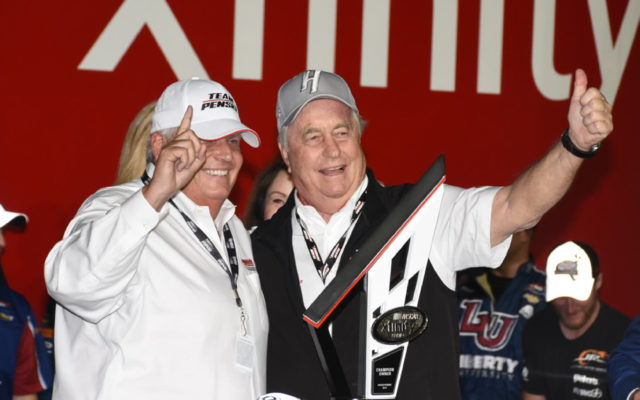 Xfinity winners Rick Hendrick for race win and Roger Penske for taking 2017 season owner championship for fourth time.  For the photo op, the two dignitaries swapped hats.  [Joe Jennings Photo]