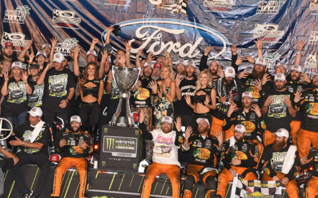 Furniture Row Racing team celebrates in victory lane.  [Joe Jennings Photo]