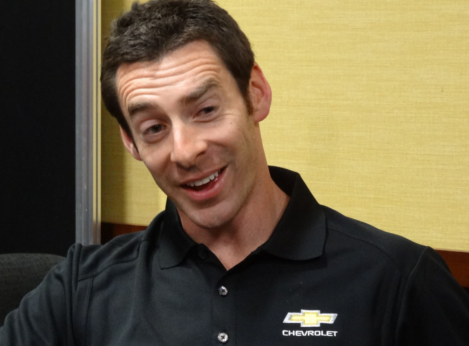 Verizon IndyCar driver Simon Pagenaud talks with the media at the 2018 PRI show in Indianapolis. [Paul Gohde Photo]