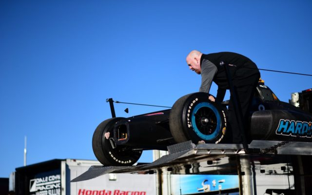 The Harding Racing team unloads the ride for Gabby Chaves at ISM Raceway.  [credit Jamie Sheldrick / Spacesuit Media]
