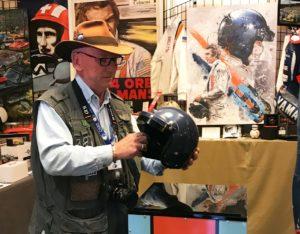Author with the McQueen helmet. [Photo by Darren Jack]