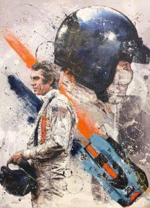 Art Rotondo's original artwork of Steve McQueen. [Photo by Jack Webster]
